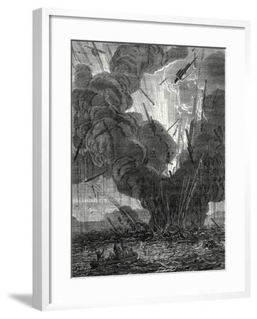 Robert Fulton Blows Up a Boat with His Infernal Machine in the Harbor of Brest--Framed Giclee Print