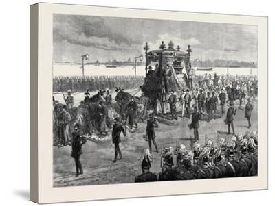 Funeral of the Empress of Russia at St. Petersburg: the Funeral Procession 1880--Stretched Canvas Print