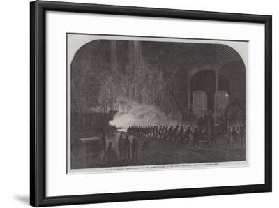 Process of Rolling Armour-Plates for Her Majesty's Ships at the Atlas Steelworks, Sheffield--Framed Giclee Print