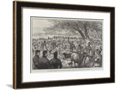 A Ghoorka Regiment About to Start for Burmah, Performing Heathen Rites of Sacrifice--Framed Giclee Print