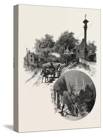 Quebec, Wayside Cross and Beauport Church, Canada, Nineteenth Century--Stretched Canvas Print