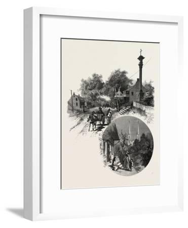 Quebec, Wayside Cross and Beauport Church, Canada, Nineteenth Century--Framed Giclee Print