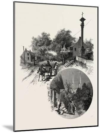 Quebec, Wayside Cross and Beauport Church, Canada, Nineteenth Century--Mounted Giclee Print