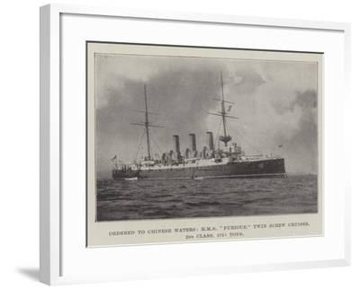 Ordered to Chinese Waters, HMS Furious, Twin Screw Cruiser, 2nd Class, 5750 Tons--Framed Giclee Print