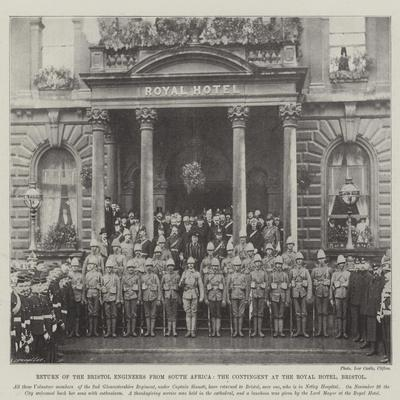 Return of the Bristol Engineers from South Africa, the Contingent at the Royal Hotel, Bristol--Framed Giclee Print