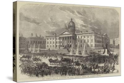 Her Majesty's Visit to Manchester, the Royal Procession Passing the Infirmary--Stretched Canvas Print
