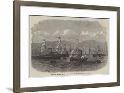 Opening of the New Graving-Dock at Belfast by the Lord Lieutenant of Ireland--Framed Giclee Print