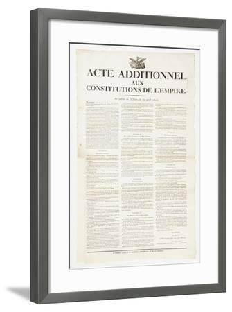 Additional Act to the Constitutions of the Empire, 22 April 1815--Framed Giclee Print