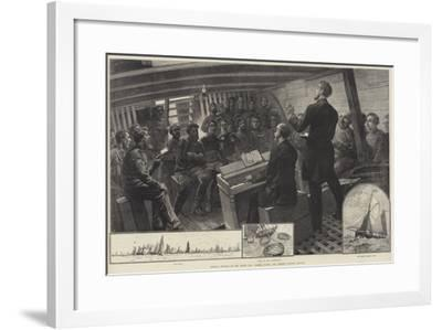 Sunday Service in the North Sea Fishing Fleet, the Thames Church Mission--Framed Giclee Print