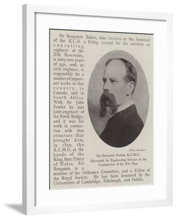 Sir Benjamin Baker, Decorated for Engineering Services in the Construction of the Nile Dam--Framed Giclee Print