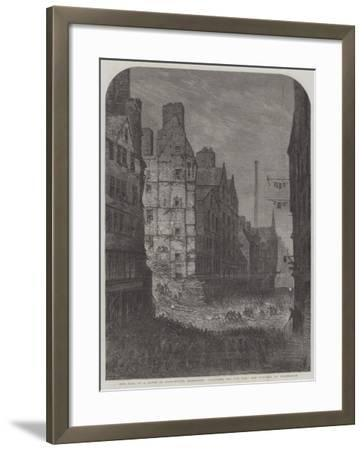 The Fall of a House in High-Street, Edinburgh, Searching for the Dead and Wounded by Torchlight--Framed Giclee Print