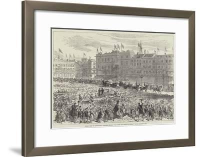 Royal Visit to Nottingham, Children Singing God Bless the Prince of Wales! in the Market-Place--Framed Giclee Print
