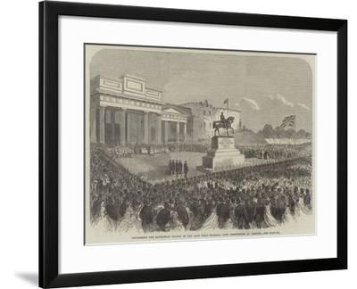 Uncovering the Equestrian Statue of the Late Field Marshal Lord Combermere at Chester--Framed Giclee Print