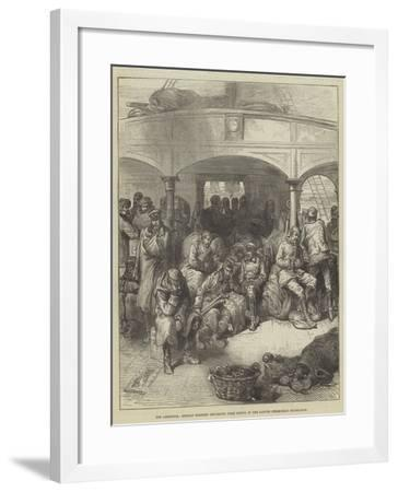 The Armistice, Russian Soldiers Returning from Servia in the Danube Steam-Boat Hildegarde--Framed Giclee Print