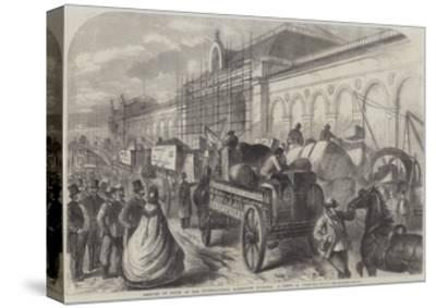 Arrival of Goods at the International Exhibition Building, a Scene in Cromwell-Road--Stretched Canvas Print