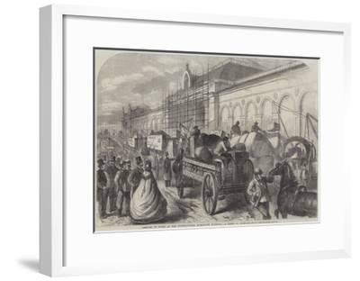 Arrival of Goods at the International Exhibition Building, a Scene in Cromwell-Road--Framed Giclee Print