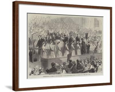 Distribution of Prizes to the Children of the Ragged-School Union at Exeter Hall--Framed Giclee Print
