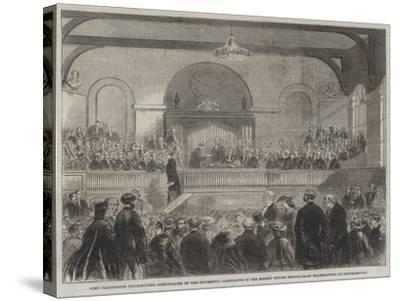 Lord Palmerston Distributing Certificates to the Successful Candidates in the Recent Oxford Middle---Stretched Canvas Print