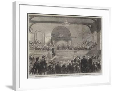 Lord Palmerston Distributing Certificates to the Successful Candidates in the Recent Oxford Middle---Framed Giclee Print