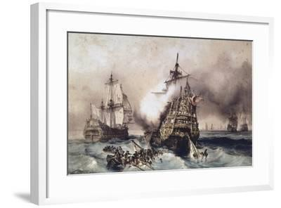 Fire on English Liner Devonshire, Blown Up in Battle, September 21, 1707, England, UK, 18th Century--Framed Giclee Print