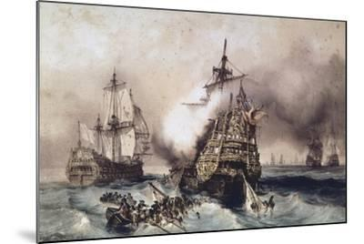 Fire on English Liner Devonshire, Blown Up in Battle, September 21, 1707, England, UK, 18th Century--Mounted Giclee Print