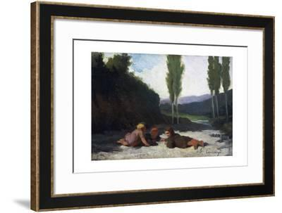Children Playing in the River or Children Playing Outdoors, by Giuseppe Ciaranfi (1838-1908)--Framed Giclee Print