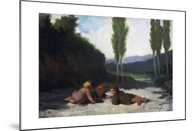 Children Playing in the River or Children Playing Outdoors, by Giuseppe Ciaranfi (1838-1908)--Mounted Giclee Print