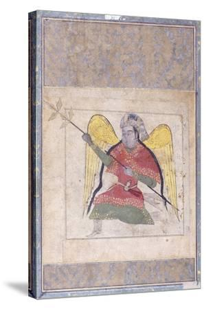 An Angel Wearing a Turban, Bearing a Staff, C.1370-80 (Gouache with Gold Paint on Paper)--Stretched Canvas Print