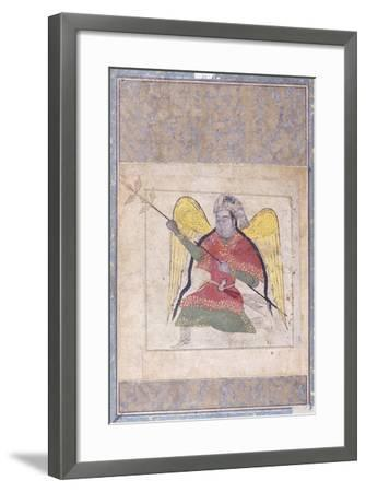 An Angel Wearing a Turban, Bearing a Staff, C.1370-80 (Gouache with Gold Paint on Paper)--Framed Giclee Print