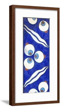 An Iznik Pottery Border Tile, with Bold Cintamani Triple Roundels and Paired Waves, C. 1570--Framed Giclee Print