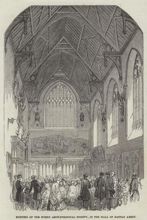 Meeting of the Sussex Archaeological Society, in the Hall of Battle Abbey--Stretched Canvas Print