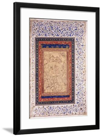 Rustem Killing Arjang Div, C.1630 (Pen and Ink, Heightened with Colour, on Paper)--Framed Giclee Print