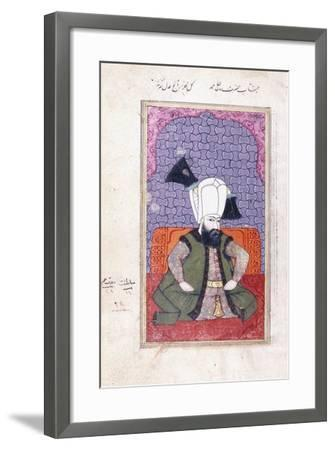 Portrait of Sultan Ahmed III (1673-1736), 18th Century (Gouache with Gold Paint on Paper)--Framed Giclee Print