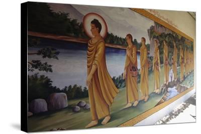 Buddha Walking Followed by Faithful, Myazedi Pagoda, Bago (Pegu), Myanmar (Burma), 16th Century--Stretched Canvas Print