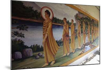 Buddha Walking Followed by Faithful, Myazedi Pagoda, Bago (Pegu), Myanmar (Burma), 16th Century--Mounted Giclee Print