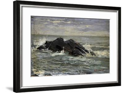 Rocks, by Riccardo Salvadori (1866-1927), Oil on Panel, 17, 8X31 Cm, Italy, 19th - 20th Century--Framed Giclee Print