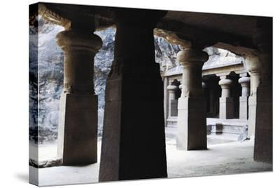 Columns in East Courtyard of Buddhist Temple on Elephanta Island, India, 5th-8th Century--Stretched Canvas Print