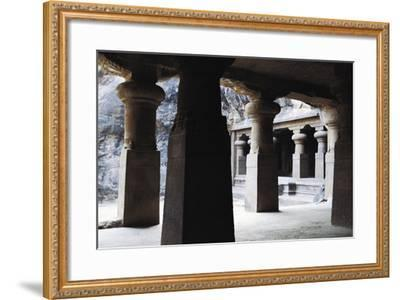 Columns in East Courtyard of Buddhist Temple on Elephanta Island, India, 5th-8th Century--Framed Giclee Print