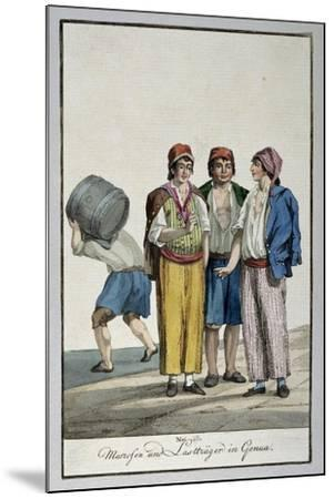 Sailors and Porters in Genoa, Ca 1815, Watercolour Copper, Italy, 19th Century--Mounted Giclee Print