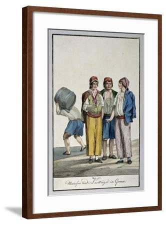 Sailors and Porters in Genoa, Ca 1815, Watercolour Copper, Italy, 19th Century--Framed Giclee Print