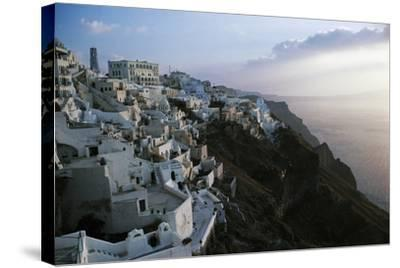 View of Fira or Thira at Sunset, Santorini Island, Cyclades Islands, Greece--Stretched Canvas Print