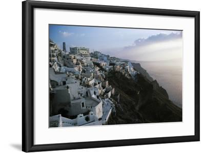 View of Fira or Thira at Sunset, Santorini Island, Cyclades Islands, Greece--Framed Giclee Print