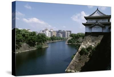 View of Osaka Castle and Moat Beneath, Kansai, Osaka, 16th Century, Japan--Stretched Canvas Print