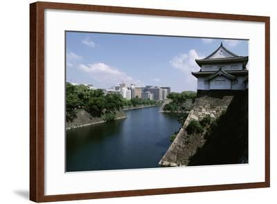 View of Osaka Castle and Moat Beneath, Kansai, Osaka, 16th Century, Japan--Framed Giclee Print