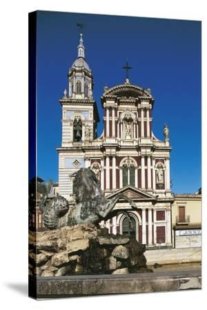 Fountain in Front of a Church, St. Sebastian, Caltanisetta, Sicily, Italy--Stretched Canvas Print