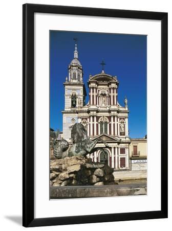 Fountain in Front of a Church, St. Sebastian, Caltanisetta, Sicily, Italy--Framed Giclee Print