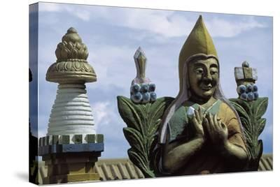 Close-Up of a Statue in a Temple, Gandan Monastery, Ulan Bator, Mongolia--Stretched Canvas Print
