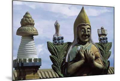 Close-Up of a Statue in a Temple, Gandan Monastery, Ulan Bator, Mongolia--Mounted Giclee Print