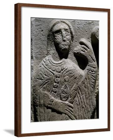 Spinner, Fragment from Group Depicting Baptismal Procession, Marble Bas-Relief, Italy, 10th Century--Framed Giclee Print