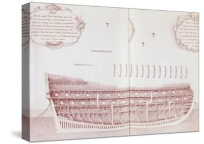 Longitudinal Section of Vessel Launched onto Sea, Is Atlas Di Colbert, France, 17th Century--Stretched Canvas Print